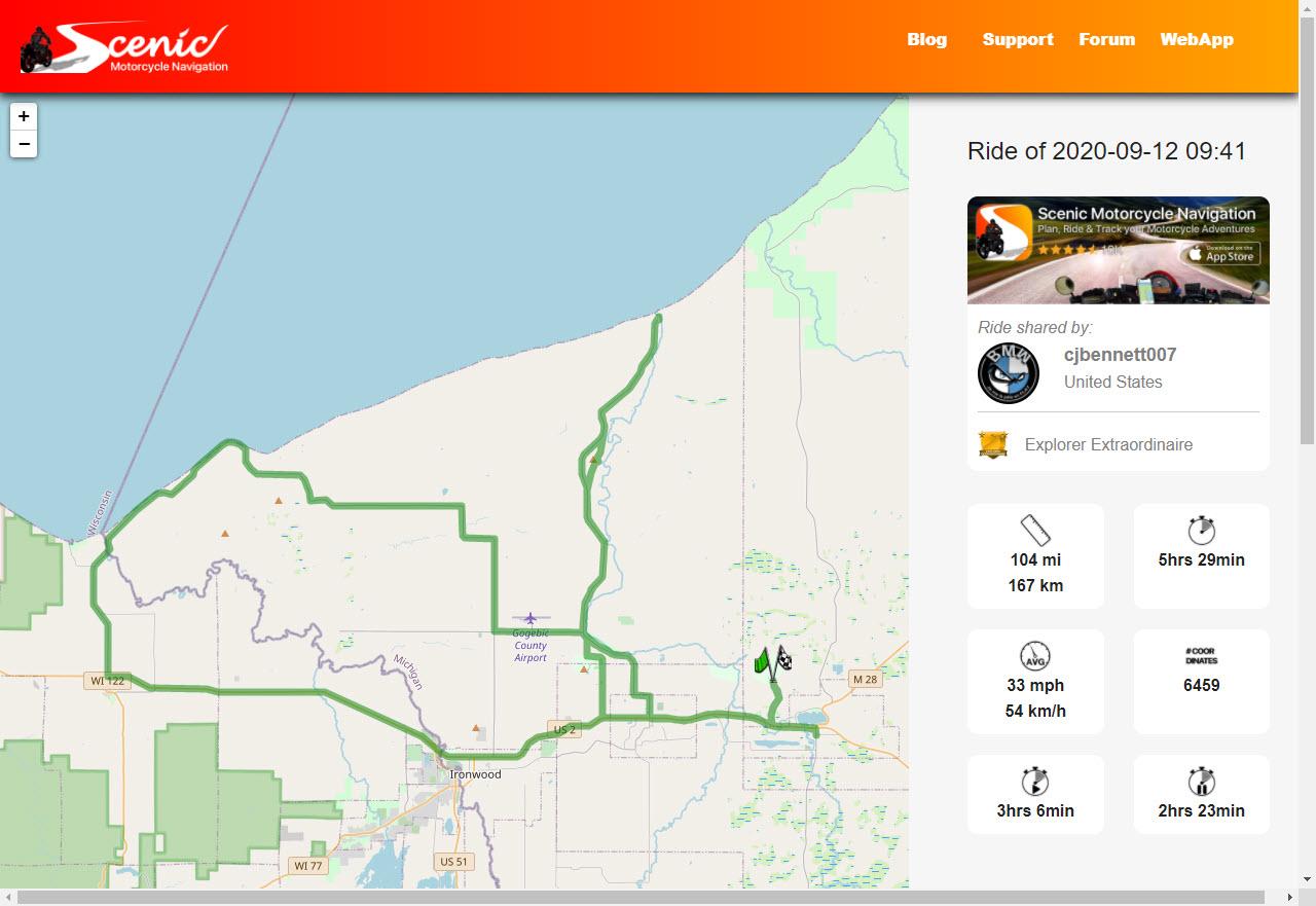 Saturday Ride Route in Upper Peninsula Michigan