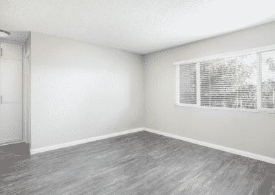 Empty bedroom with windows