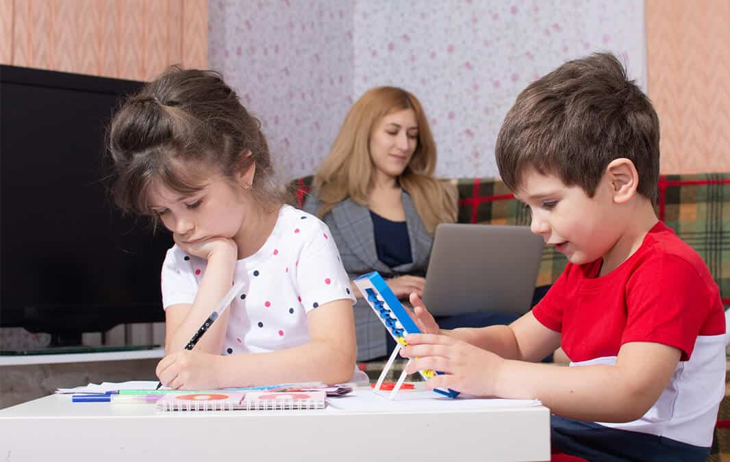 Kids focus on studying at the study table