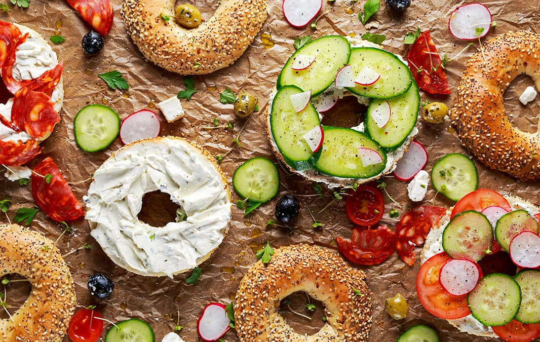 Bagels with spread