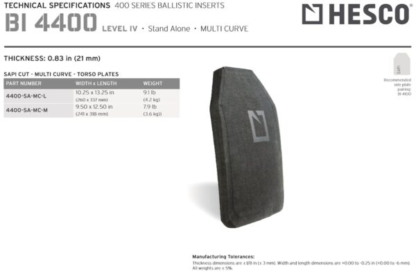 HESCO 400 Series Armor Level 4 Stand Alone Plate 4400