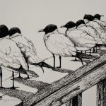 birds lined up on railing
