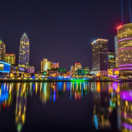 Tampa Bay lights reflected on water