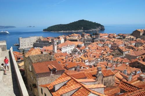 Walking on Dubrovnik's medieval city walls