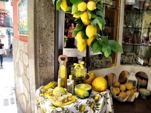 Lemons & limoncello display at a shop