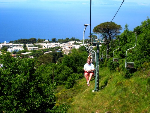 Chairlift to the top of Mount Solaro in Anacapri