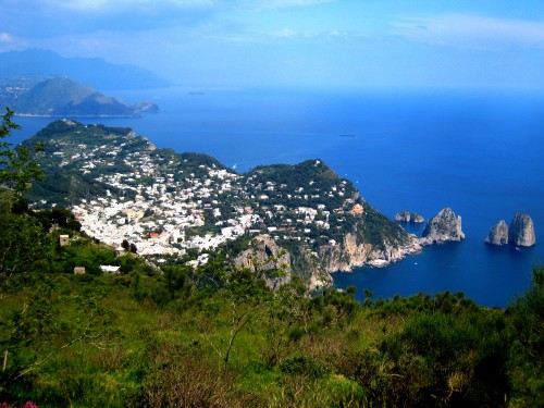 Capri Town and Faraglioni Rocks as seen from the top of Mount Solaro