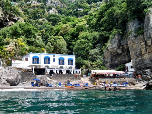 Arriving at Da Adolfo by boat from Positano