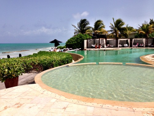 Rosewood pool by the beach