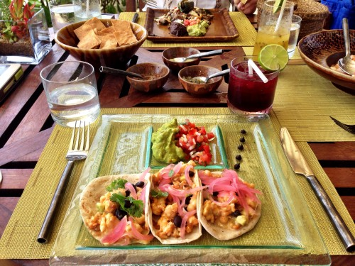 Amazing lobster tacos and hibiscus margarita lunch