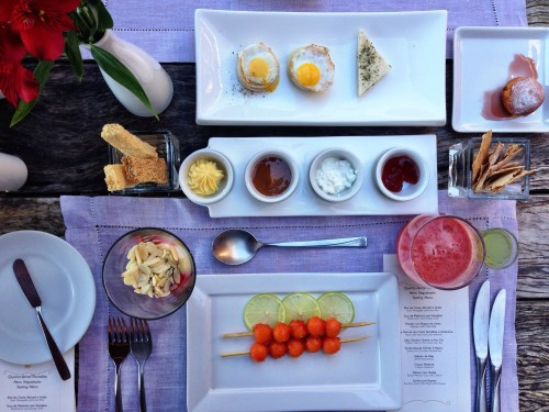 Ponta Dos Ganchos breakfast.. each morning is a new tasting menu filled with local and light fare.. yum!