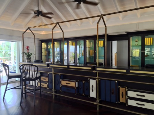 The front desk at Guanahani even evokes vintage luggage