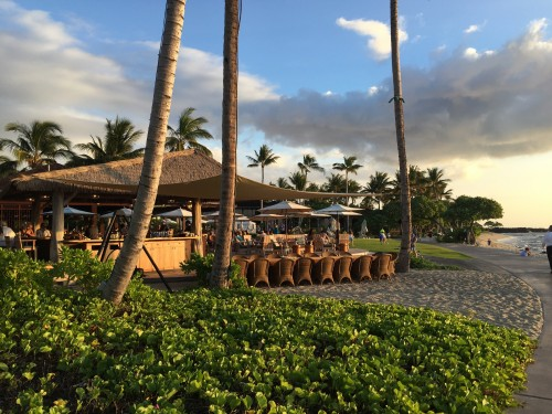 Four Seasons Hualalai- Beach Tree restaurant at sunset