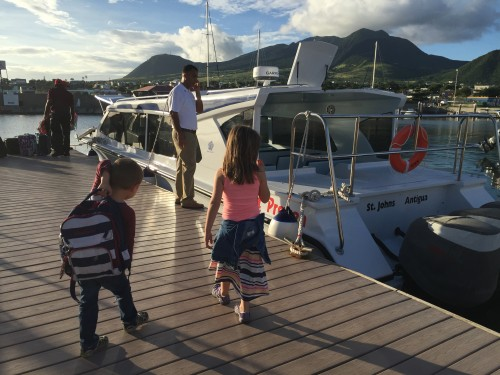 Boarding the boat to go to Nevis