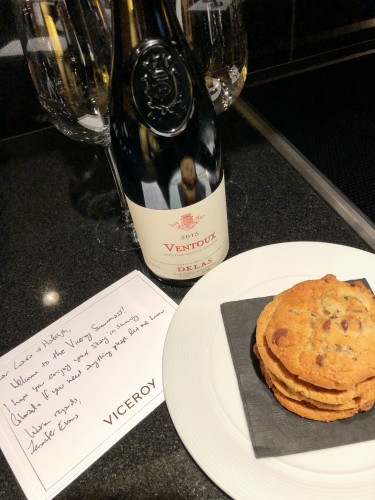 We loved the cookies & red wine welcome at Viceroy Snowmass!