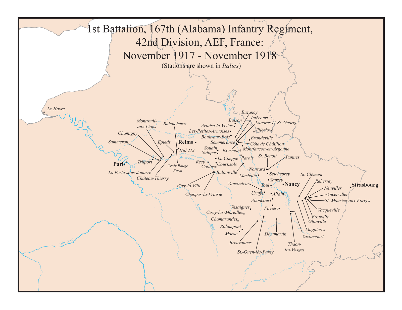 Stations of the 1st Battalion of the 167th Alabama Infantry Regiment