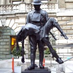 Statue installed in the courtyard of the Royal Academy of Art in London