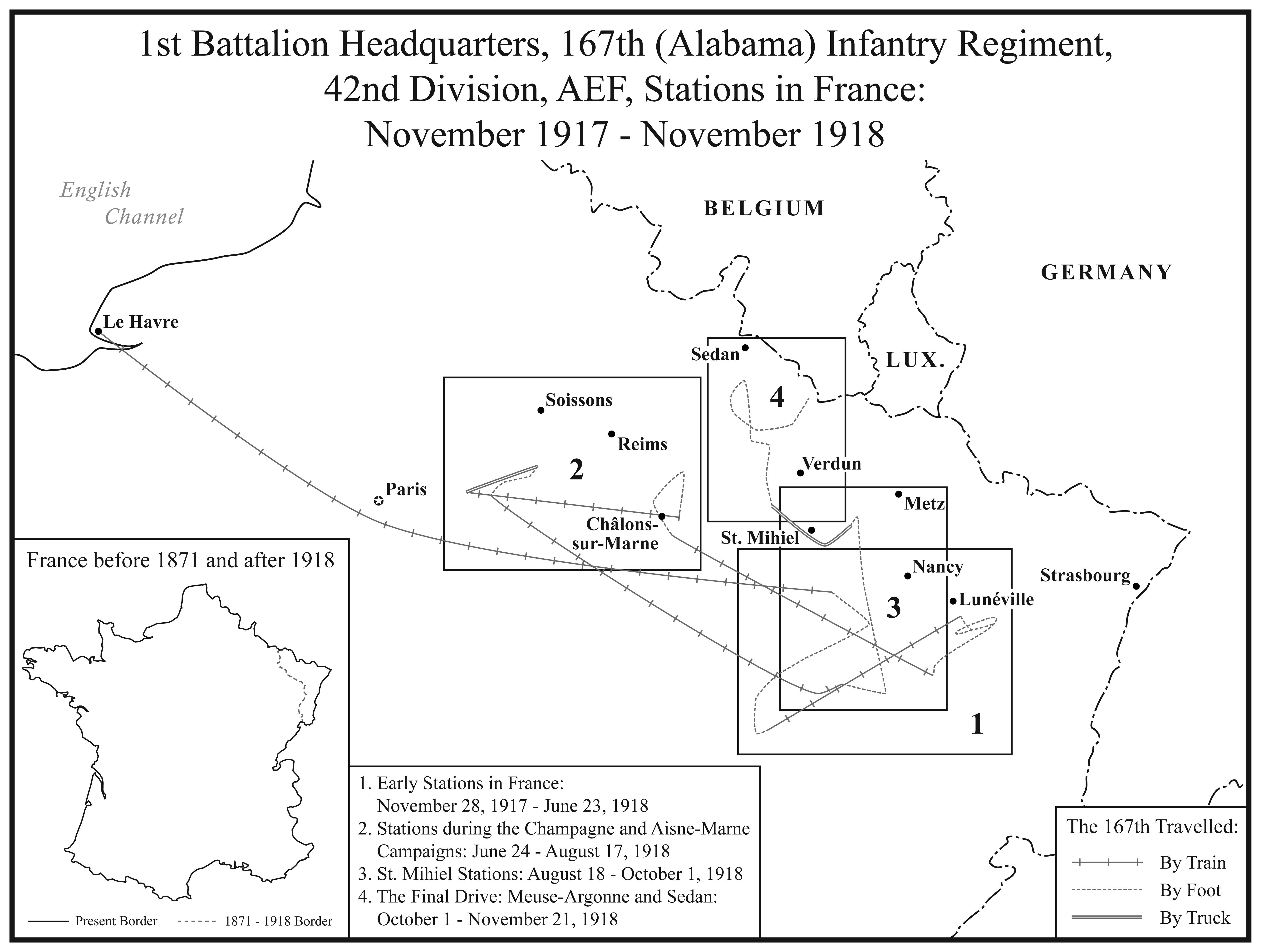 I. 1st Battalion Headquarters, 167th Alabama Regiment Stations in France.