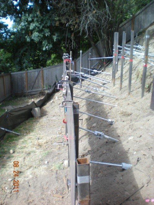 retaining wall with tie backs