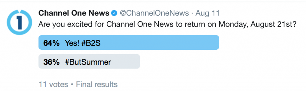 Few excited about Channel One News starting up again.