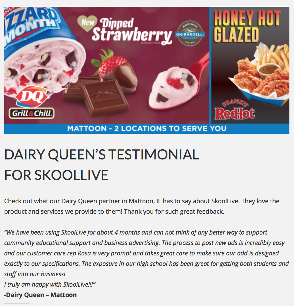 You can't make this stuff up:  Skoollive brings Dairy Queen ads into schools.