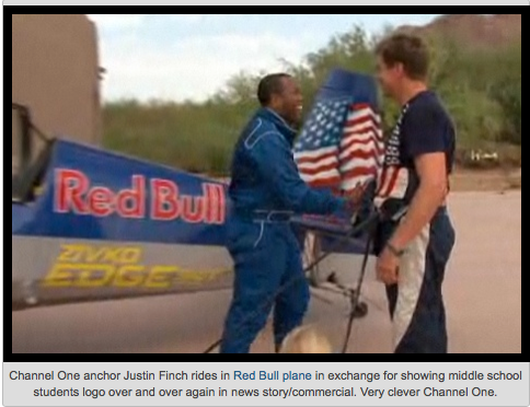 Channel One News ripping off CBS News? Remember when Ch1 promoted Red Bull to kids?