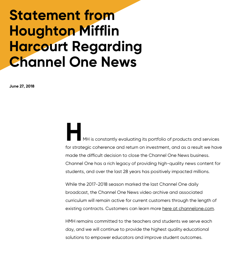 Heartless statement from Houghton Mifflin Harcourt on ending Channel One News.