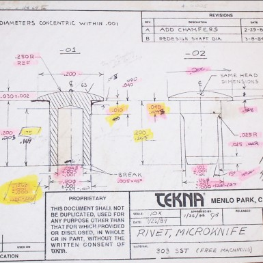 Engineering drawing by Art of Mass Production, a San Diego based plastics engineering company