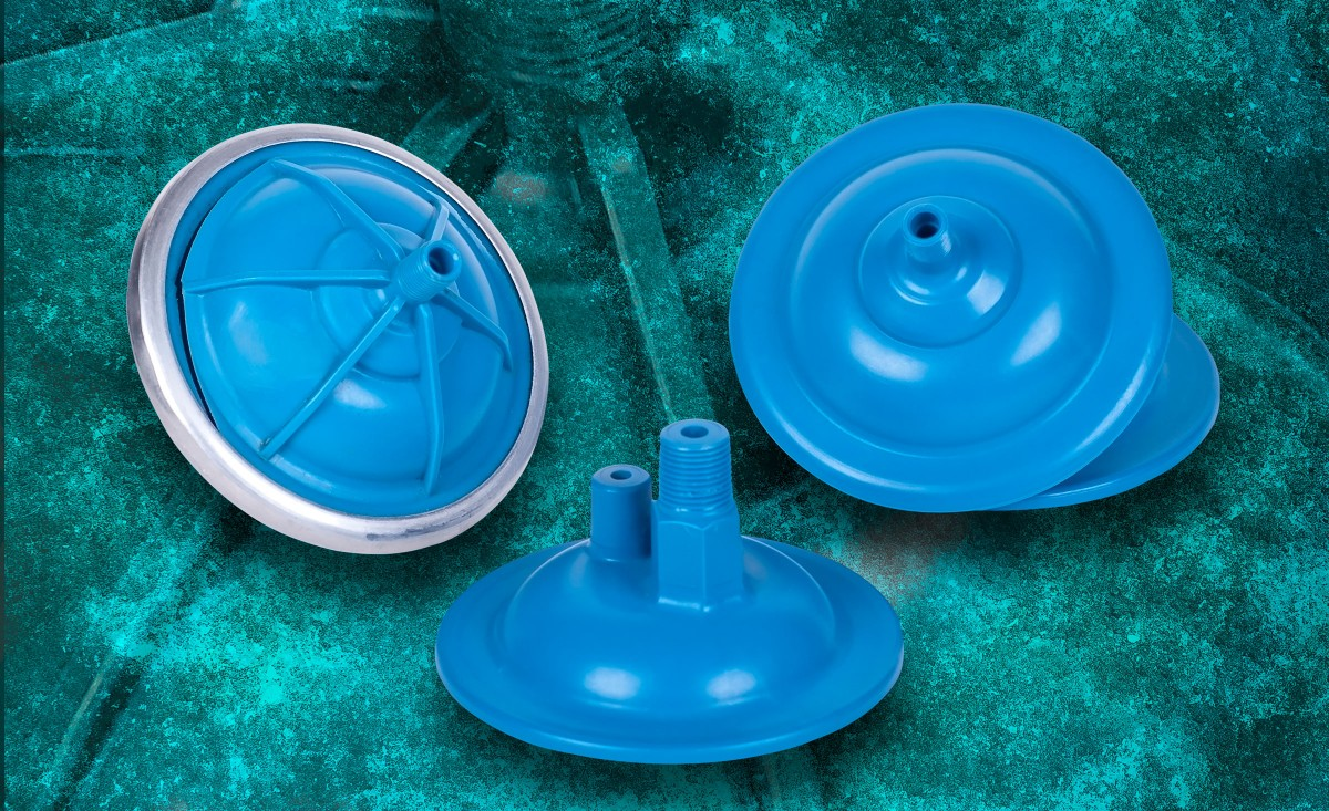 Plastic pressure accumulators engineered in part by Art of Mass Production, a San Diego based plastics engineering company