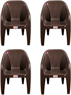 AVRO FURNITURE 9100 Plastic Chairs, Set of 4, Matt and Gloss Pattern, Plastic Chairs for Home, Living Room, Bearing Capacity up to 200Kg, Strong and Sturdy Structure,Brown furniture