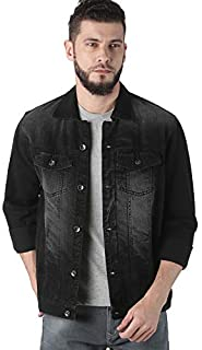 VROJASS Full Sleeve Solid Men Carbon Black Denim Jacket