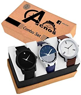 Acnos Stylist Analog Watch Combo Set for Men Pack of - 3