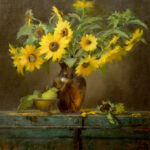 Sunflowers in Amber Vase