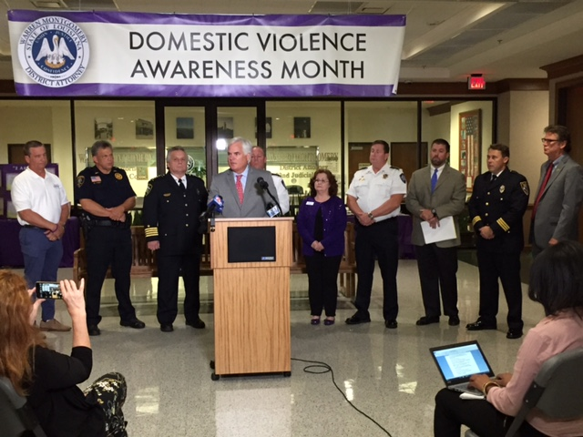 Warren Montgomery at a press conference about domestic violence