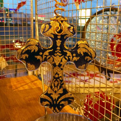 Christmas Cross Purple Gold
