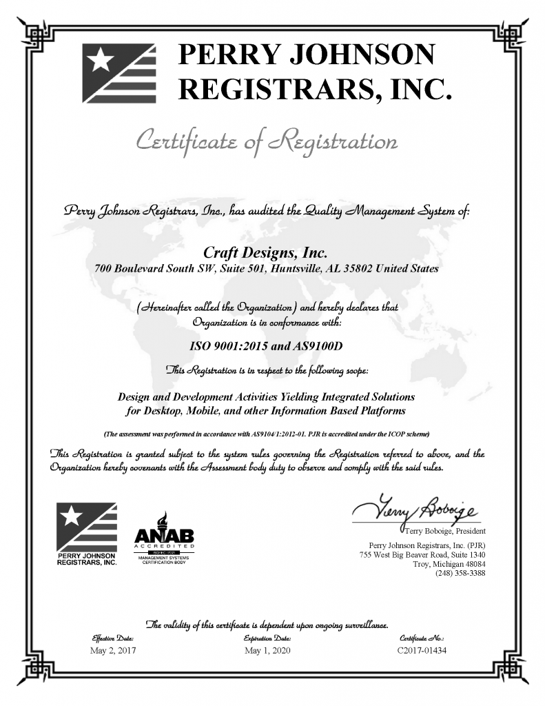ISO 9001:2015 and AS9100D:2016 Certificate 2017