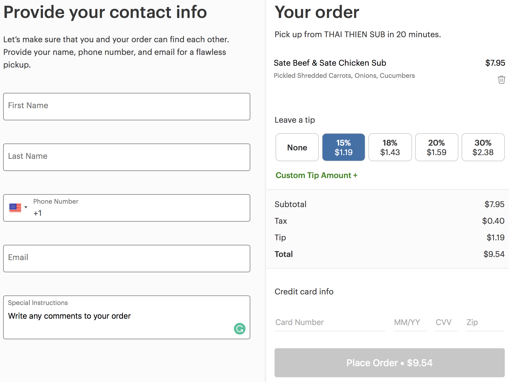 clover online ordering payment with tip function