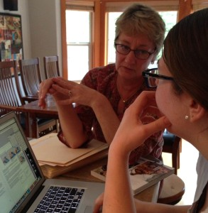 Sarah and Ann, at the photoshoot for Annetarsia Knits, going through the days' shots.