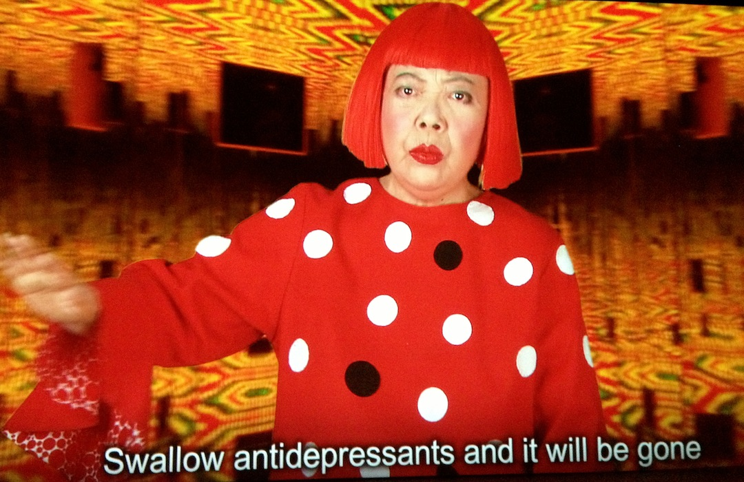 """Yayoi Kusama, Video still from the  exhibition """"I Who Have Arrived In Heaven"""", 2013, David Zwirner Gallery, NY"""