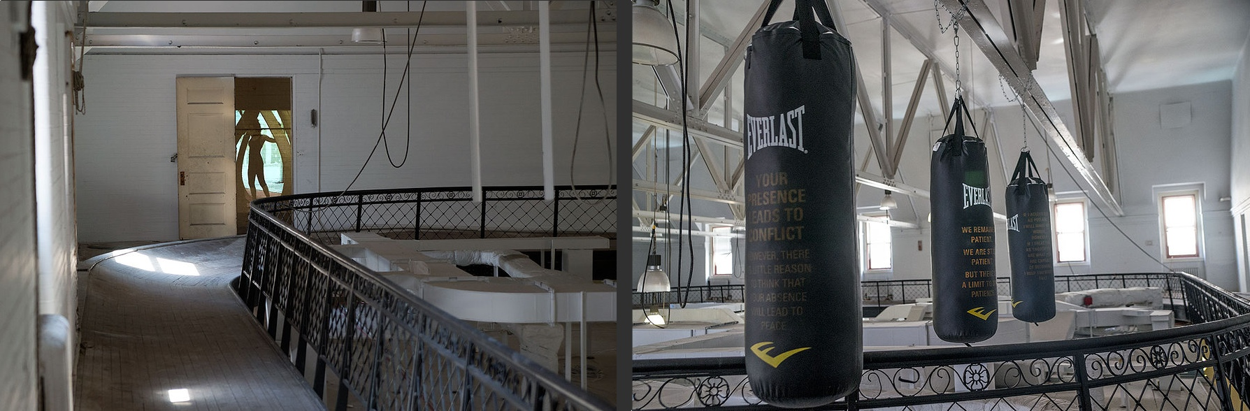 """Doing and Undergoing, Columbia University, Teachers College, New York (Right) Monika Wuhrer, installation view, """"Your presence leads to conflict (however, there is little reason to think your absence will lead to peace). 2013, Three Everlast punching bags with text applied to surface by the artist (Left) Caterina Tiazzoldi & Eduardo Benamor Duarte, Onion Pinch, Baroque Contrepoids Redux. Video projection / Audio, 2013 Both located in Thompson Hall, mezzanine (old gym)"""