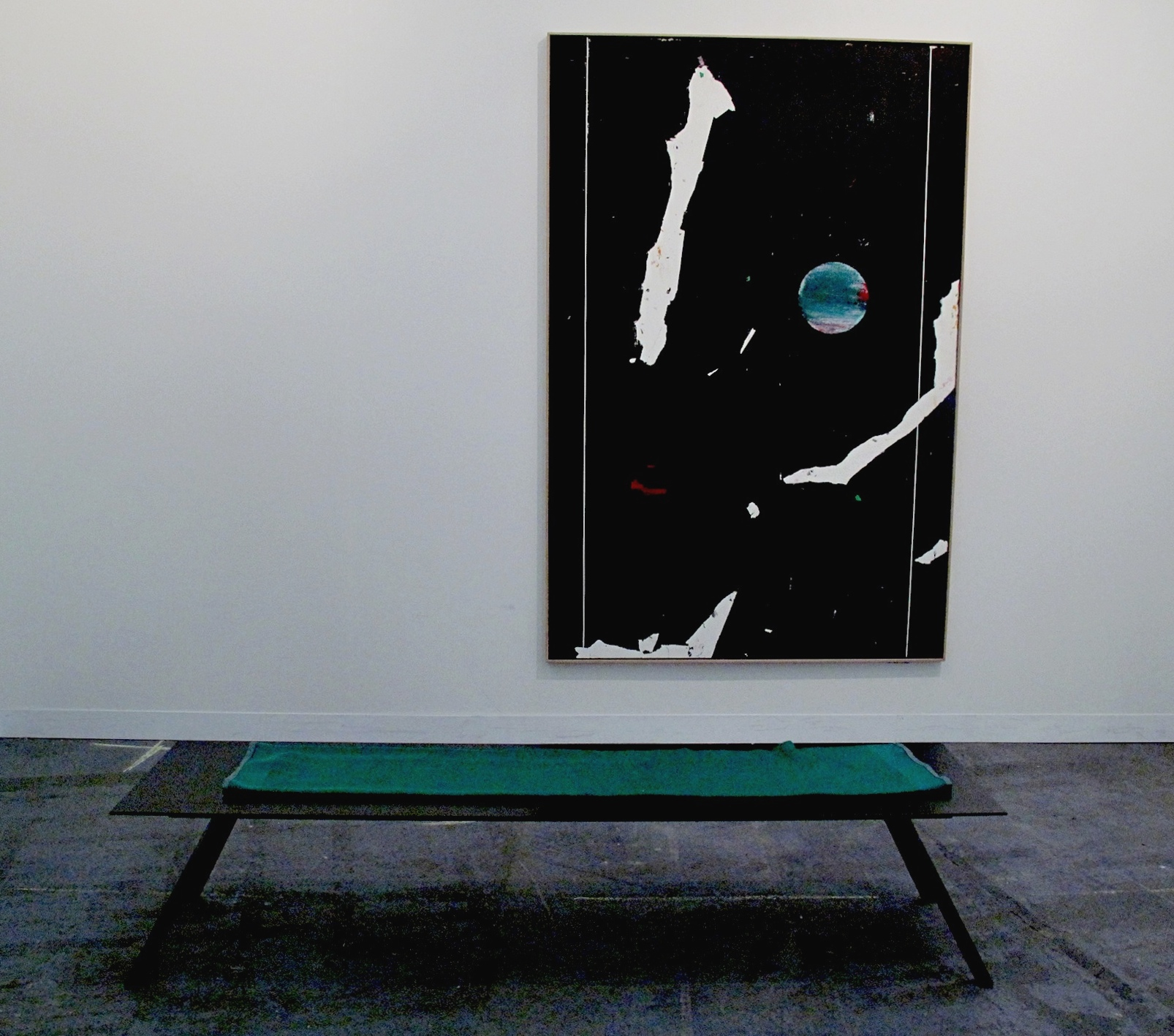 C L E A R I N G, Brooklyn/Brussels, Armory Presents Harold Ancart, Installation view (bench with fabric and painting), The Armory Show, New York, 2014, Pier 94