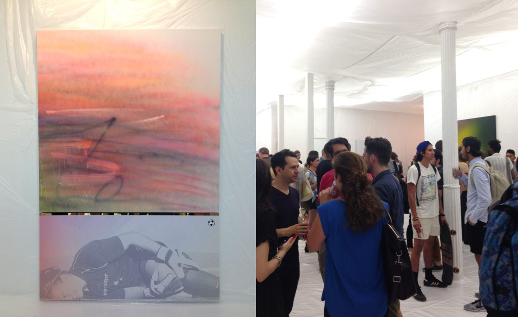 Left: Painting by Wendy White, 2014 Right: Gallery view, opening night, The Hole, NY, iPhone photographs by Katy Hamer, 2014