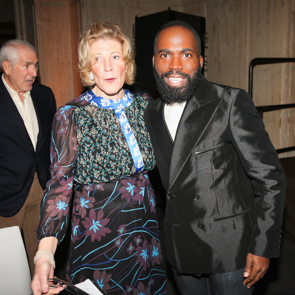 Agnes Gund and Derrick Adams at the ICI Annual Benefit and Auction, 2014 Photograph by Ben Rosser, BFAnyc