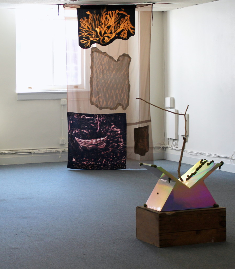 "Lauren Luloff, (background) ""John's Dory with Seaweed"", bleached bedsheets and fabric, 9 x 4', 2012, David Shaw (foreground) David Shaw, ""Vast"", Wood, holographic laminate, epoxy, flocking   40.75"" x 28.25"" x 13.75"", Apples Turn to Water, Curated by Kari Adelaide and Max Razdow, SPRING/BREAK, 2015"