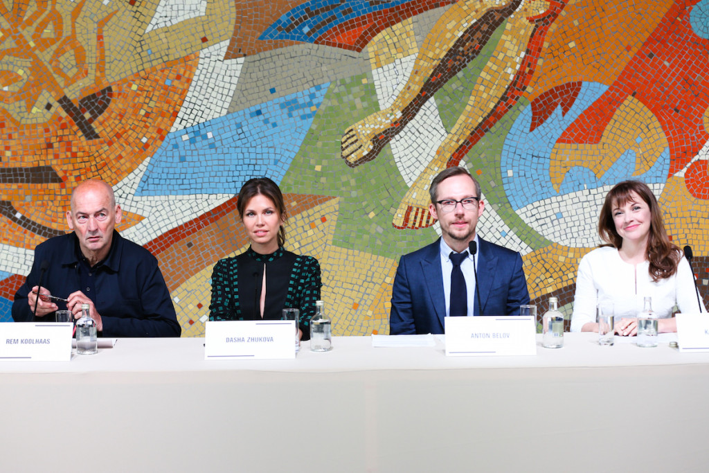 Rem Koolhaas, Dasha Zhukova, Anton Belov, Kate Fowle, Press Conference at the opening of the Garage Museum of Contemporary Art, Moscow