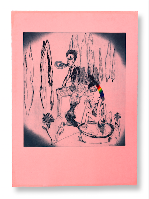 """Lola Montes Schnabel, """"The Rainbow Connection"""" (2014) Etching, 18 x 16 inches, edition of 30 Courtesy of Tripoli Gallery, Southampton and East Hampton, New York. Photo by Ryan Moore, 2015"""