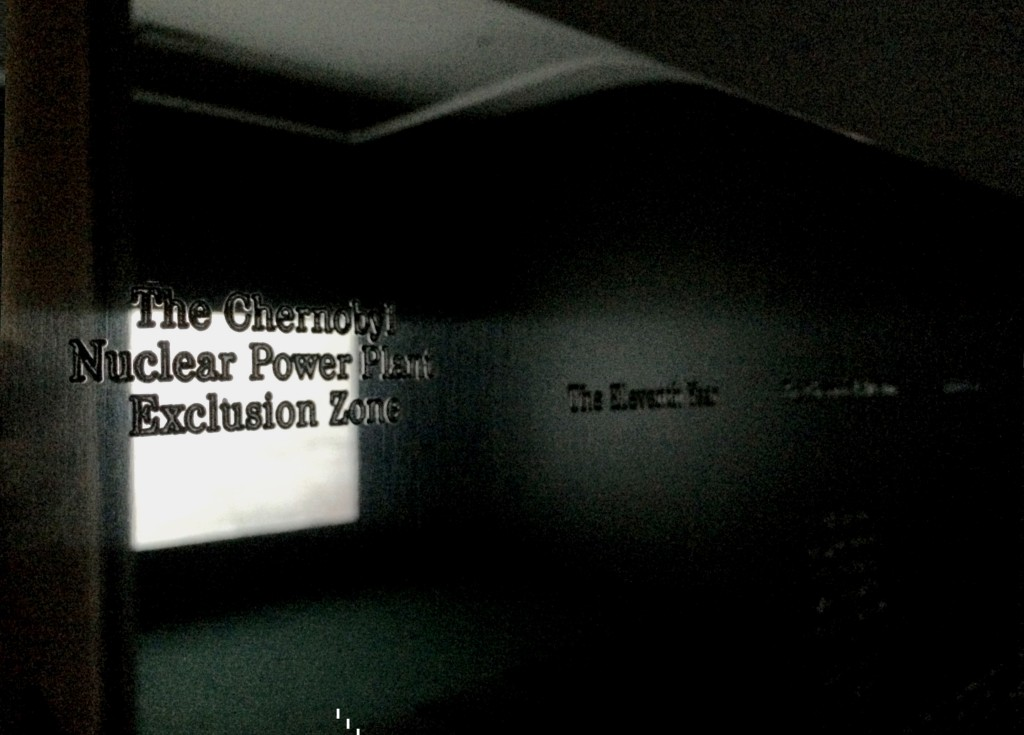 """Lina Selander, [Reflective] Plaque from """"Lenin's Lamp Glows In The Peasant's Hut"""", Installation view at VOX, Montreal, Canada, Photo by Jongho Lee, 2015"""