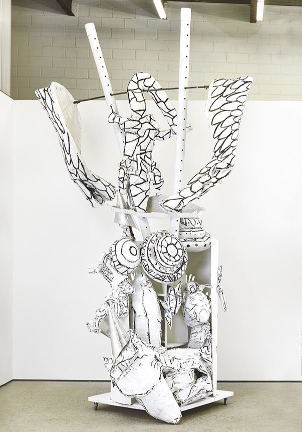 Agathe Snow, Community At Large, 2015, Wood, Cardboard, Paper Mache, acrylic paint, enamel paint, metal wire, metal rod, silver tape, 175 x 96 x 50 inches, Image courtesy of the artist and The Journal Gallery, Brooklyn, NY
