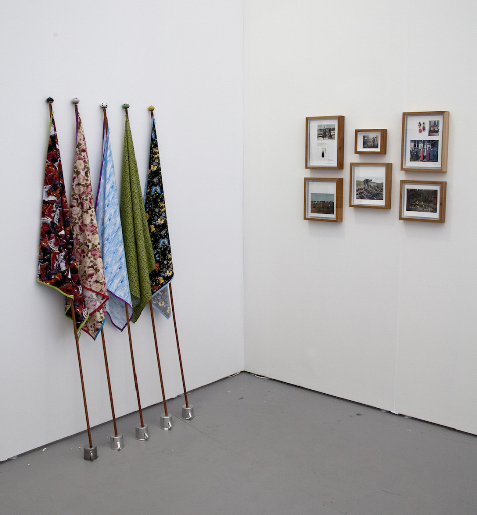 Central Galeria de Arte (São Paulo, Brazil) with Nino Cais Flags, 2013 Fabric, wood, ceramic knobs and metal cups Warfare, 2014 Book pages and jewels Installation view Untitled Miami, Photograph by Vanessa Albury