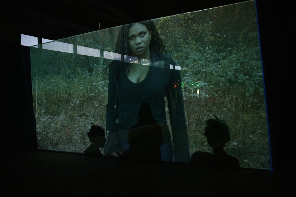 """Jesper Just, """"in the shadow/ of a spectacle/ is the view of the crowd"""" (2015) a commission of Performa 15. The performance was held at 225 Liberty Street, NY, Photograph by Paula Court, courtesy of Performa."""